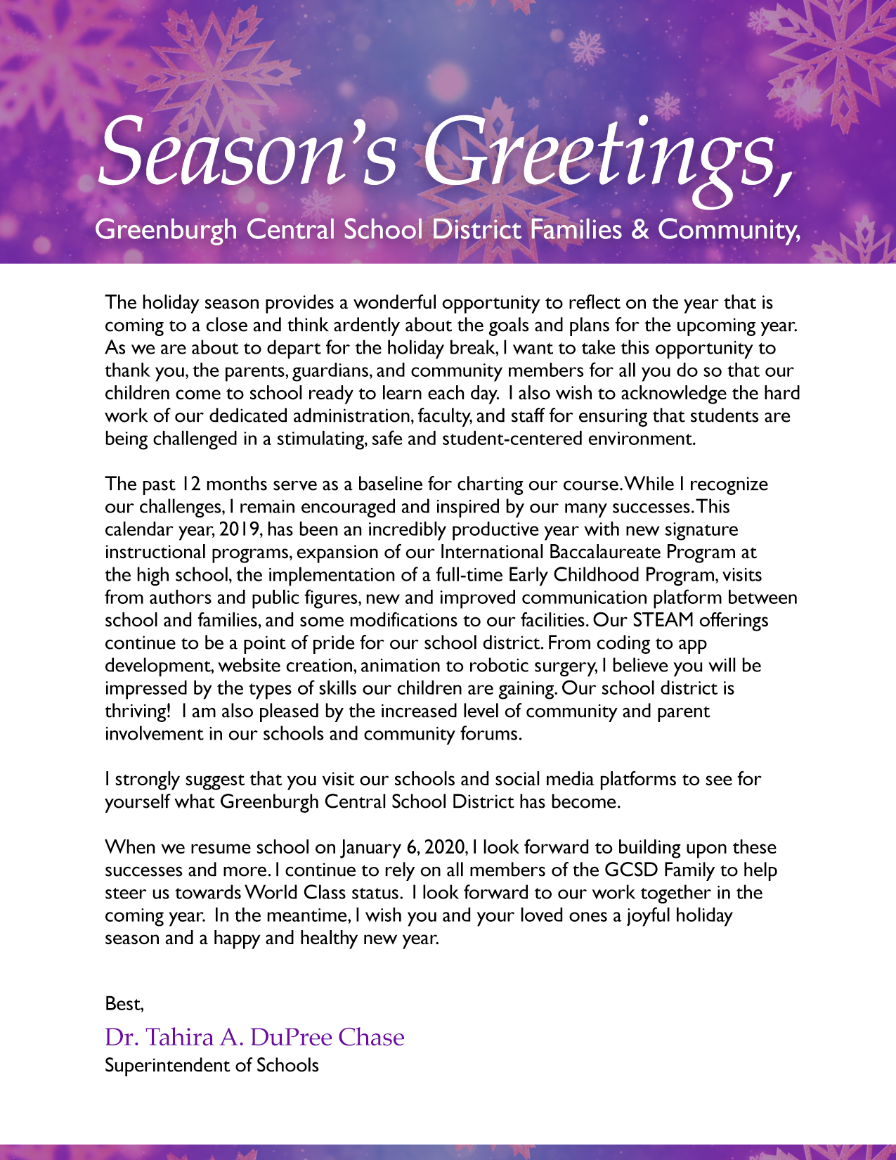 2019 Holiday Message from Superintendent, Dr. Tahira DuPree Chase