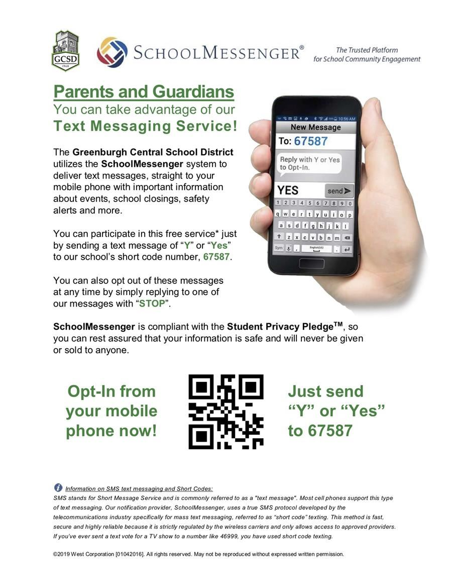 Text Y to 67587 to receive important information about events, school closings, safety alerts and more.